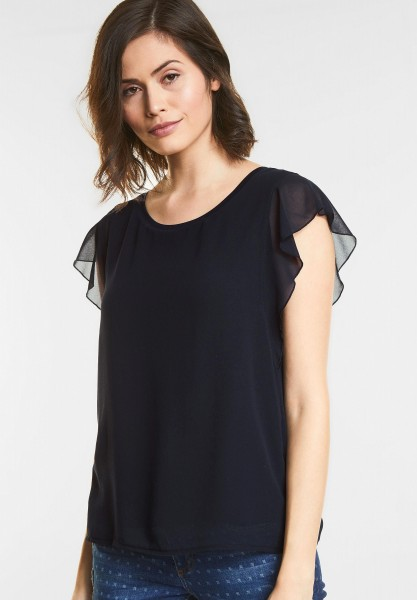 Street One Shirt mit Volants Gesine in Deep Blue