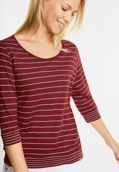 CECIL - 3/4-Arm Streifenshirt Tilda in Velvet Red