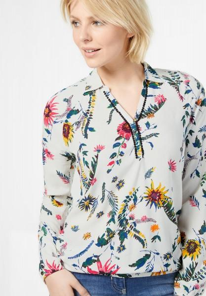 CECIL - Bluse mit tropischen Blüten in Pure Off White