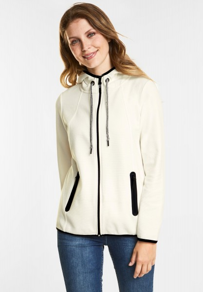 CECIL Strukturierte Sweatjacke in Pure Off White