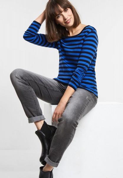 CECIL - Basic Streifen Shirt in Cornflower Blue