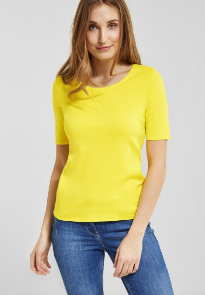 CECIL - Organic Halbarmshirt Lena in Lemon Drop