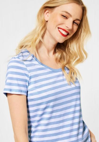 Street One - T-Shirt im Streifen Muster in Mid Sunny Blue