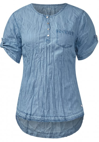 CECIL - Gecrashte Denimlook-Bluse Used Wash Mide Blue