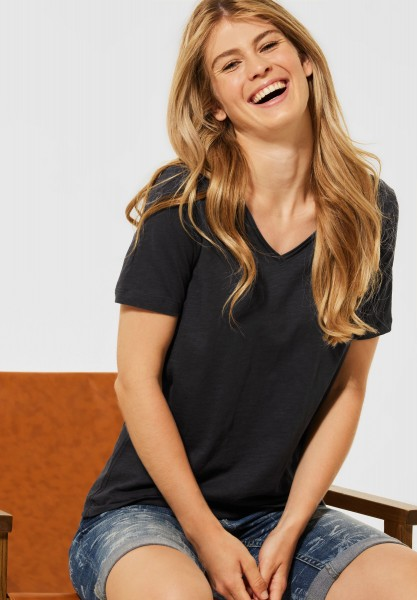 CECIL - Basic T-Shirt in Unifarbe in Carbon Grey
