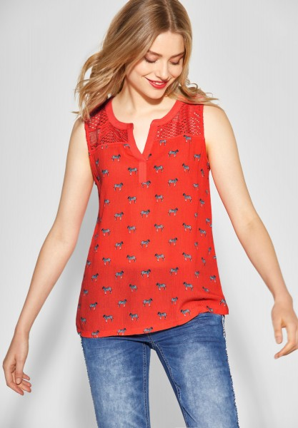 Street One - Print-Top mit Spitze in Bright Coral