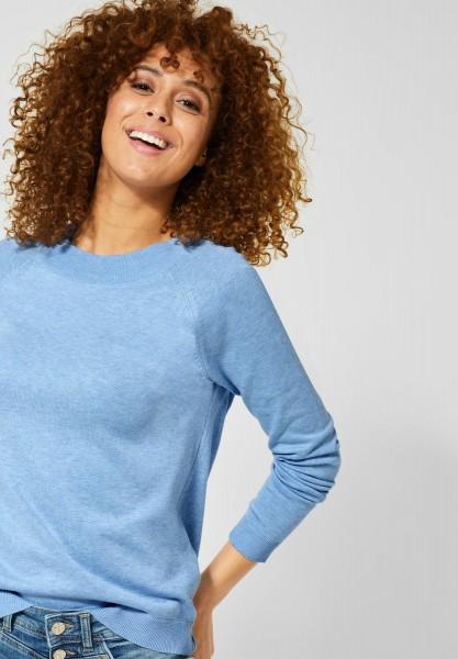 Street One - Unifarbener Pullover Gundi in Classy Blue Melange