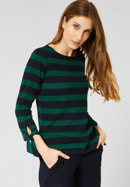 CECIL - Shirt mit Struktur-Streifen in Lucky Clover Green