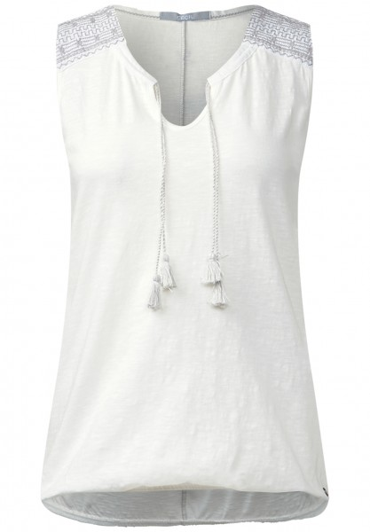 CECIL - Shirttop mit Stitchings Pure Off White