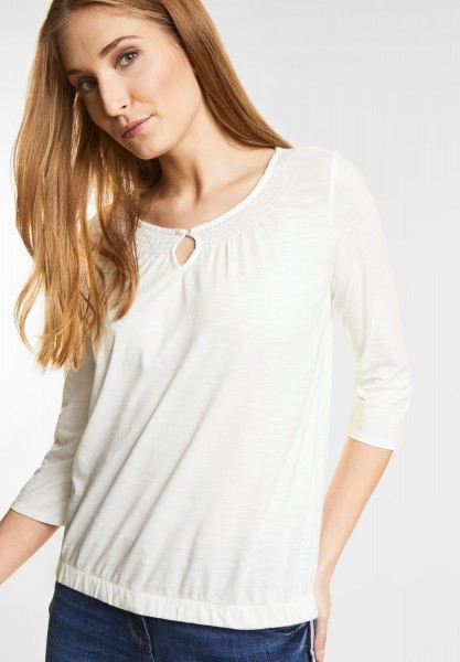 CECIL - Basic 3/4-Arm Shirt Adriana in Pure Off White