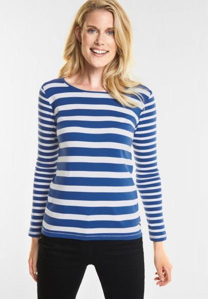 CECIL Basic Streifen Shirt in Tinted ink Blue