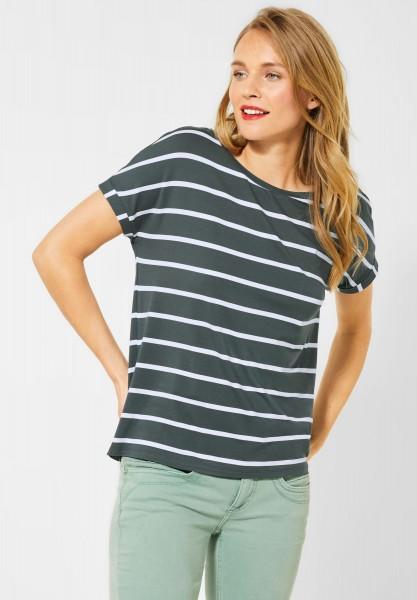 Street One - T-Shirt mit Streifenmuster in Comfort Green