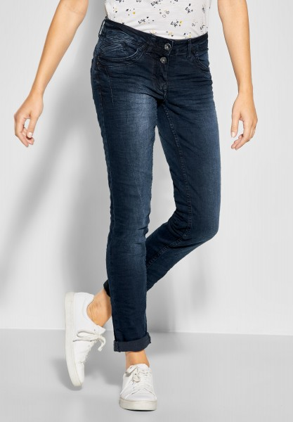 CECIL - Loose Fit Denim Scarlett 32er Länge in Blue Black Used Wash