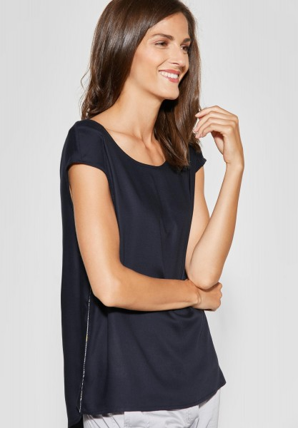 CECIL - Softe Bluse mit Schleife in Deep Blue