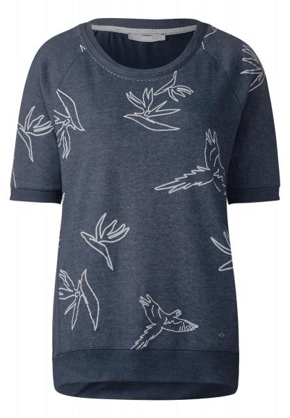 CECIL - Sportives Vogel Print Shirt in Deep Blue Melange