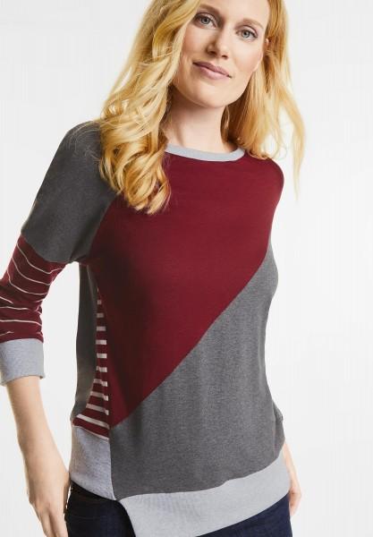 CECIL - Smartes Patchwork Shirt in Velvet Red