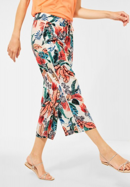 CECIL - Loose Fit Hose mit Print in Pure Off White