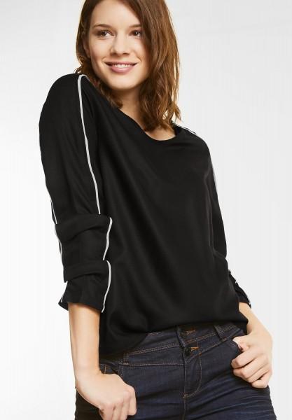 Street One - Uni Bluse mit Kontrastbiesen in Black