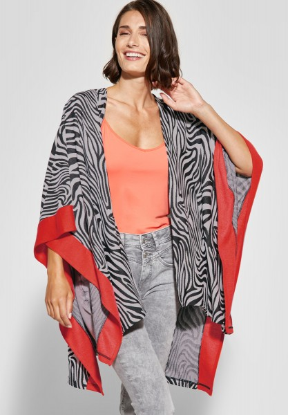 Street One - Sweat-Cape im Zebra-Look in Black