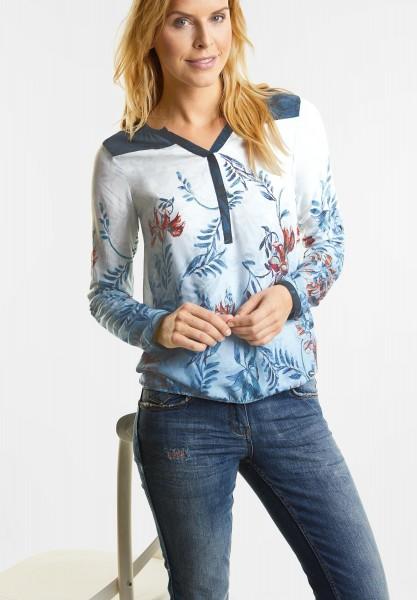 CECIL - Tunika Bluse mit Blütenprint in Deep Blue
