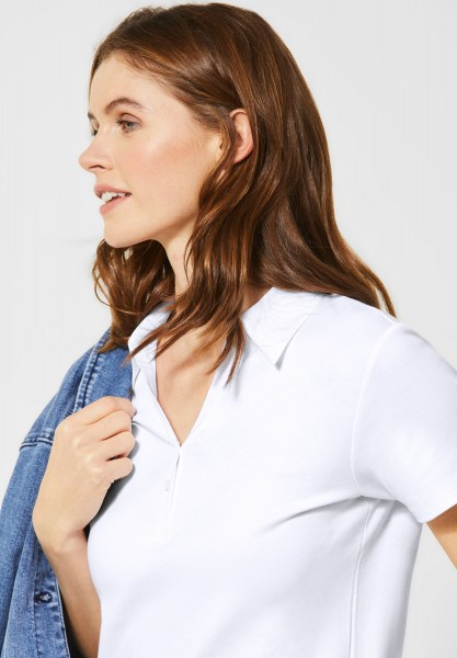 CECIL - Polo-Shirt in Unifarbe in White