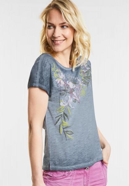 CECIL Flower-Print Shirt in Deep Blue