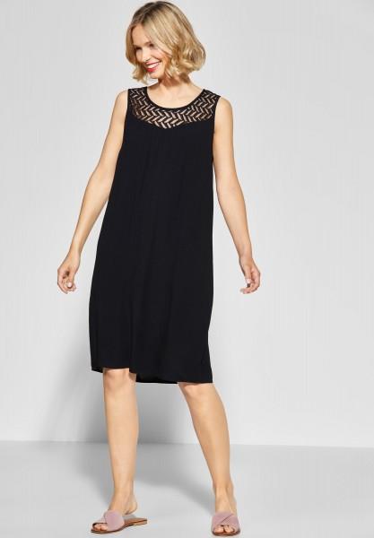Street One - Kleid mit Spitzenausschnitt in Black