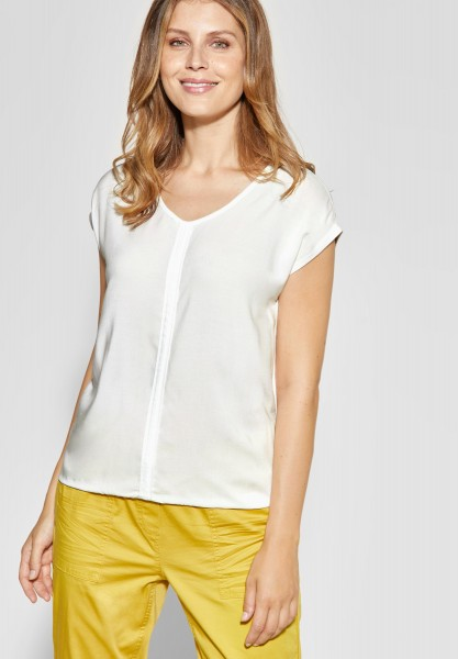 CECIL - Weiches Mat-Mix Shirt in Pure Off White