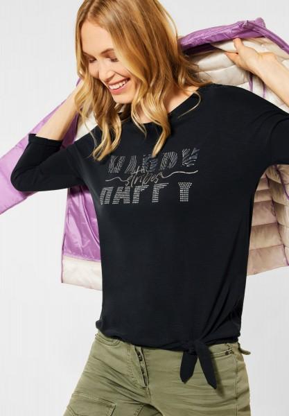 CECIL - Shirt mit Schimmer-Print in Carbon Grey