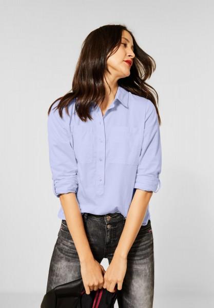 Street One - Chambray-Bluse mit Kragen in Original Blue
