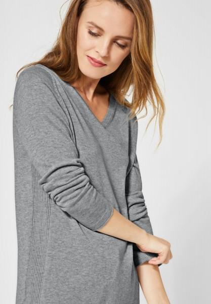 CECIL - Pullover mit V-Ausschnitt in Mineral Grey Melange