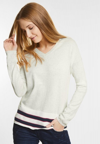 CECIL - Sportiver V-Neck Pullover in Off White Melange