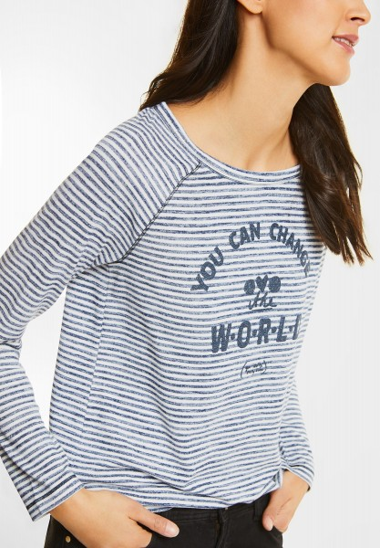 Street One - Streifenshirt mit Wording in Night Blue