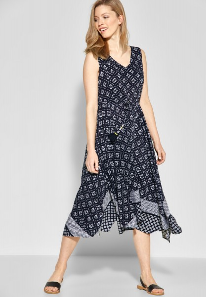 CECIL - Patchwork Print Kleid in Deep Blue