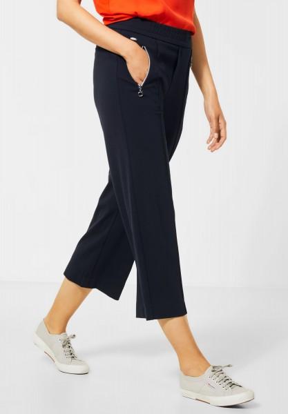Street One - Wide Leg Hose mit Zippern in Deep Blue
