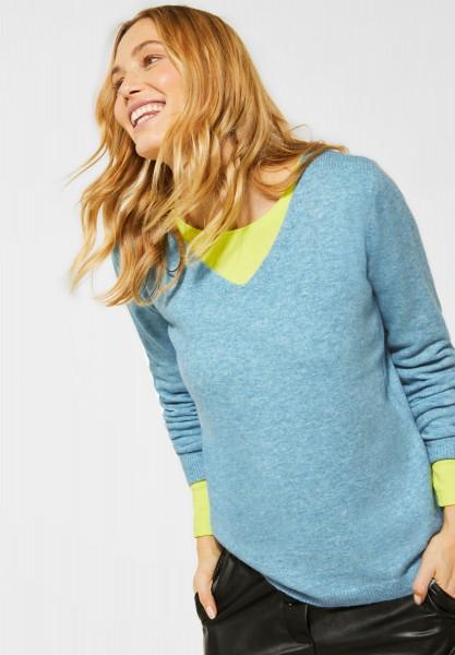 CECIL - Kuscheliger Strick-Pullover in Multi Sky Blue Melange