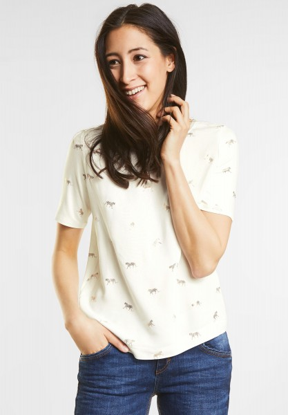 Street One - Weiches Animal Print Shirt in Off White