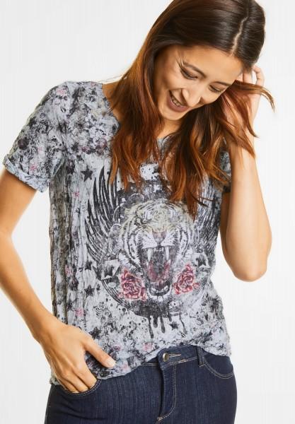 Street One - Blüten Crashshirt mit Print in Off White