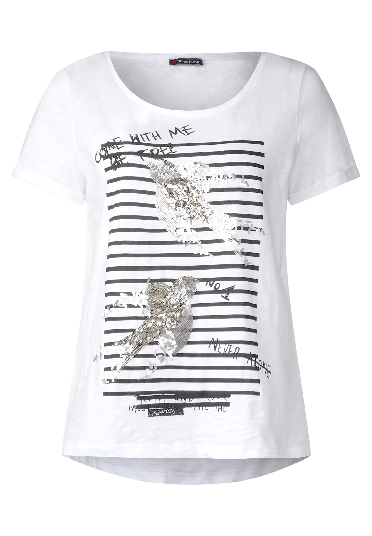 t shirt mit pailletten in white von street one online kaufen. Black Bedroom Furniture Sets. Home Design Ideas