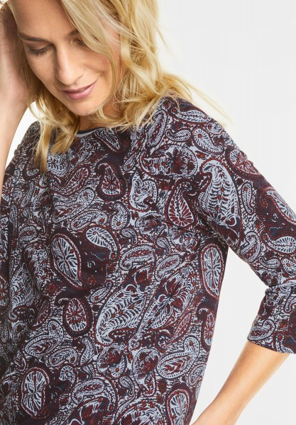 CECIL - Paisleyprint 3/4-Arm Shirt in Velvet Red