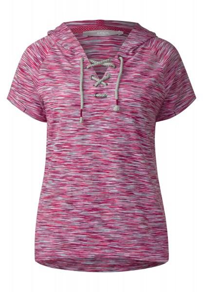 CECIL - Melange Hoody Shirt in Caribbean Pink