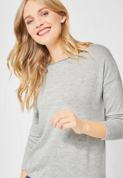Street One - Shirt mit glitzerndem Kragen in Club Grey Melange