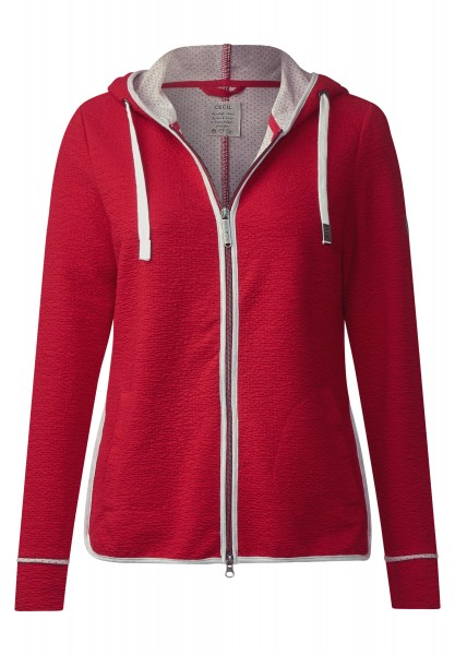 CECIL - Hoody Sweatjacke mit Paspeln in Just Red