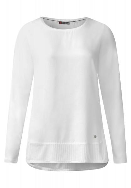 Street One - Oilwash Langarmshirt Karola in Off White