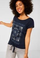 Street One - T-Shirt mit Knoten Detail in Dark Foggy Blue