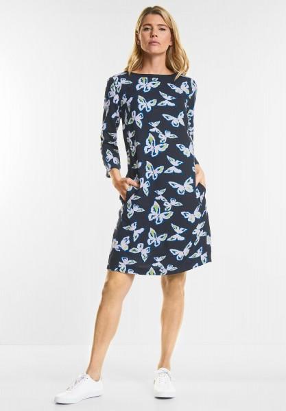 CECIL - Schmetterlingsprint Kleid in Deep Blue