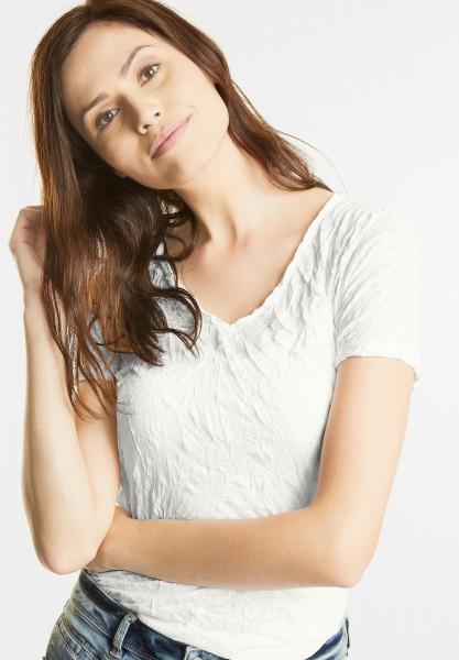 Street One - Ausbrenner V-Neck Shirt in Off White