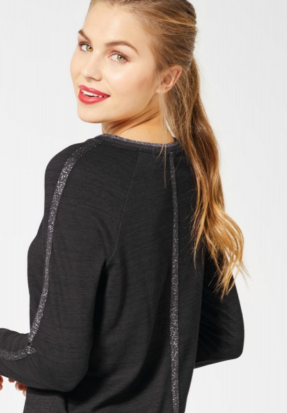 Street One - Shirt mit Glitzer-Detail in Black