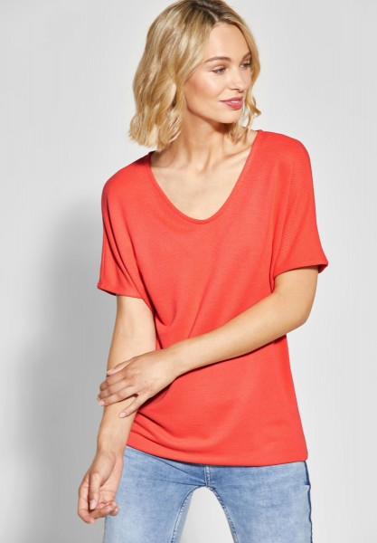 Street One - Strukturiertes Shirt in Bright Coral
