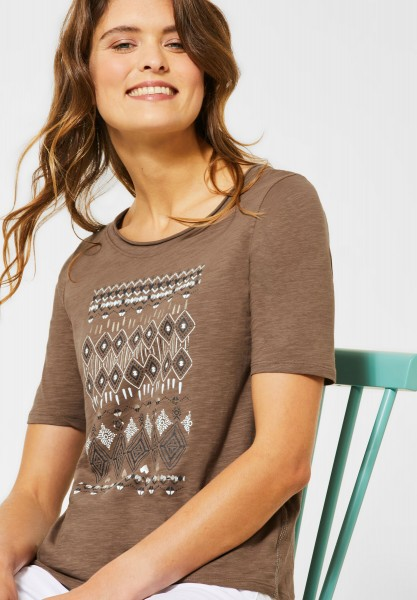 CECIL - T-Shirt mit Ethno-Print in Light Cappucino Brown